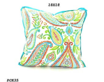 CLEARANCE sale- Bright Green and  Blue Ikat Pillow Cover,Blue Decorative Pillow Cover, Bohemian Pillows, Green Blue Sofa Cushion Covers.