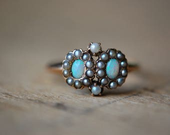 Antique double opal and seed pearl halo dress ring ∙ Victorian 10K opal and seed pearl ring