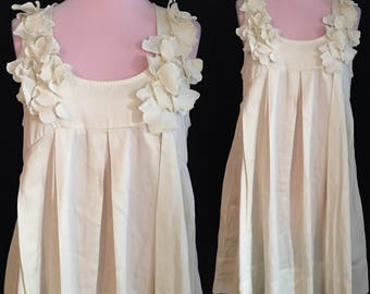 Vintage Boho Ivory Dress - Medium/Large - Short Wedding Dress