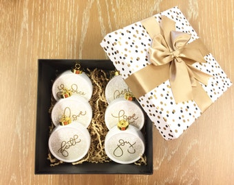 Custom Christian Christmas Ornament Set of 6 GLITTER accent Ornaments Family Gift Decorative Storage Box Ornament Set wedding gift
