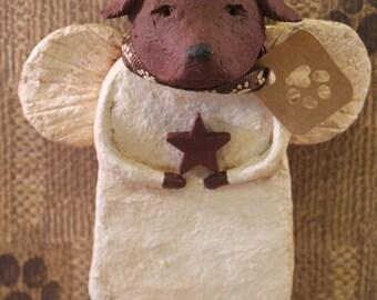 Chocolate Lab Angel, OOAK, handmade from papier mache, CHOCOLATE LAB
