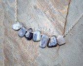 Lepidolite Necklace, Natural Stone Necklace, Blue Necklace, Rough Stone Necklace, Natural Necklace, Bohemian Necklace, Raw Stone Necklace