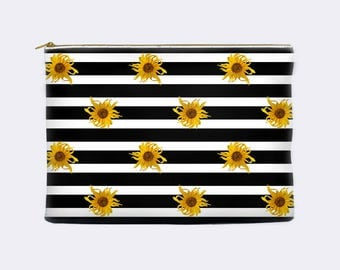 Floral pencil case, black and white striped pencil pouch, sunflowers cosmetic bag, makeup bag, make up bag, large, zippered pouch