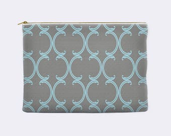 Pencil case, blue Moroccan lattice on gray, toiletry bag, cosmetic pouch, makeup bag, large cosmetic bag, zippered pouch, small clutch