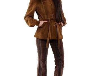Vintage 70s Tan Suede Buttoned Jacket S/M