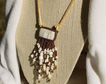 Calcite Cab Beaded Necklace with Howlite Stone Fringe and Blond Deer Leather