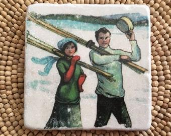 Marble Stone Coaster - Vintage Ski - Ski Decor - Ski Gift - Decorative Tile - Skier - Chalet - Lodge - Cabin