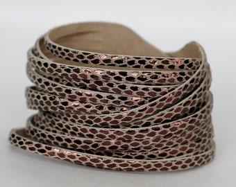 Metallic Leather Wrap Bracelet, Multi Strand Leather Cuff, Snakeskin  Print Genuine Leather