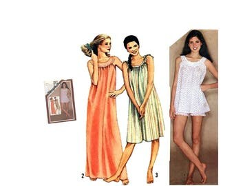 Vintage 80's Simplicity 9877 Sewing Pattern Misses Nightgown Misses Baby Doll Pajamas Misses Size Medium 14-16 Ladies Sleepwear Pattern 1980