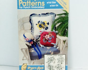 Punch Embroidery Flower Pattern Book Four Iron On Floral Designs Full Size Pull Out, Patterns for PUNCH EMBROIDERY 1989 Plaid Enterprises