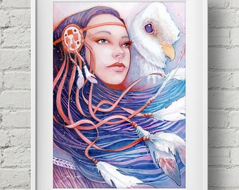 The Dreamwalker's Dawn : print native american pocahontas owl feathers watercolor painting