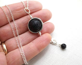 Summer Outdoors Essential Oil Diffuser Necklace Lava Necklace Planet Necklace Full Moon Necklace Big Orb Jewelry Aromatherapy Necklace