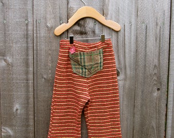 Up cycled Kids Pants Sweatpants Redesigned Recycled Clothing Hippie Child Boho Kid 4-5 Years Gr. 110-116 Leggings Stripes Fringes Tassels