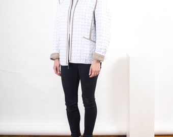 Reversible Quilted Jacket / Beige and White Vest / Women Mid Season Vest
