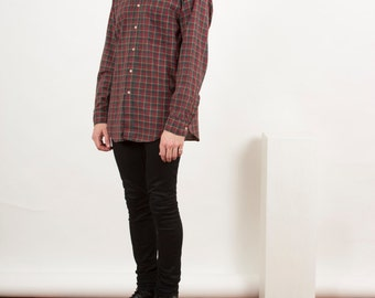 Burgundy Plaid Shirt / Fall Button Up Shirt / Oversized Lumberjack Shirt