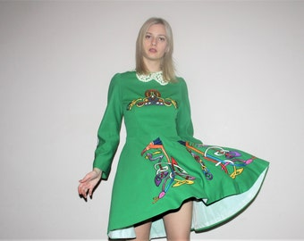 Vintage 1970s Green Rainbow Embroidered Irish Dance Costume Dress - 70s Irish Dance Dresses - W00683