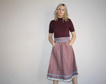 Vintage 70s Dusty Rose Floral Polka Dot Lace Gunne Sax Prairie Skirt - 70s Gunne Sax Skirts - W00709