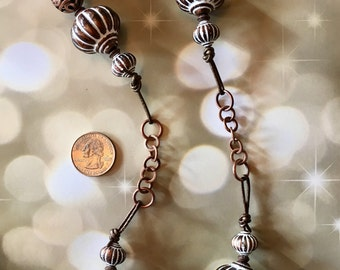 Long Chunky Brown Copper/White Statment necklace beaded