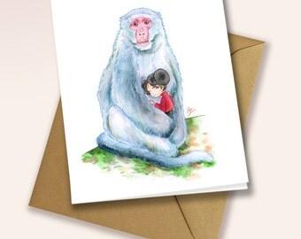 Little girl sleeping with monkey - blank greeting card