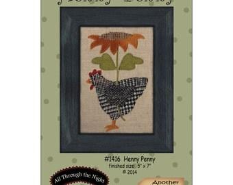 Primitive Folk Art Wool Applique Pattern - HENNY PENNY - Fits in Standard Size Frame