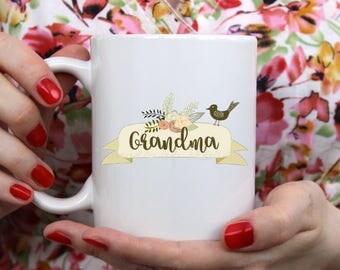 Grandma Mom Sister Aunt  ~ Coffee ~ Tea ~ Mug ~ Metallic Options ~ Custom Name Birds Floral Banner