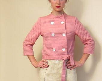 Vintage 1960s Pink Jacket Saks Fifth Avenue / 60s Pink Button Down Textured Cropped Jacket