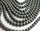 Hematite Matte - 8 mm  round beads - 1 full strand - 52 beads - matte - RFG1112