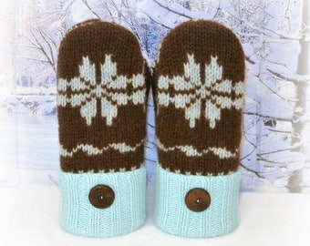 100% Felted Wool Brown & Teal Fair Isle Women's Recycled Sweater Mittens