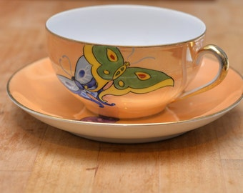 Noritake 1930's Back Stamp Lusterware Butterfly Cup and Saucer Bright Art Deco Styling