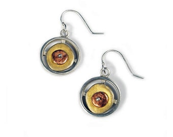 Tri Color Sterling Silver Double Layer Circle Earrings