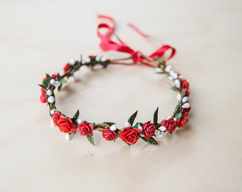 red rose flower hair wreath // bridal wedding flower crown headband rustic forest garden spring woodland headpiece