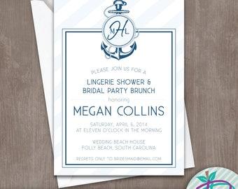Nautical Baby Shower Invitation, Nautical Baby Shower Invite, Nautical Baby Shower or Sprinkle Printable Invite, Anchor Baby Shower Invite