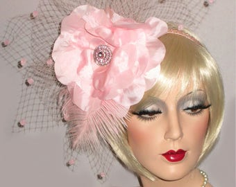 PARISIAN PINK PASSION Kentucky Derby Fascinator, Couture Derby Headpiece, Pink Derby Hat, Huge Flower French Netting Fascinator, Tea Party