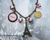Paris Necklace, Eiffel Tower Necklace, Paris Jewelry, Eiffel Tower Jewelry,  Charm Necklace, Paris Theme Necklace, Eiffel  Necklace
