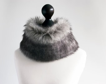 Grey faux fur collar. Winter neck warmer. Fur scarf. Buy faux fur collar. Grey fur collar. Fake fur winter scarf. Fake fur neck warmer.