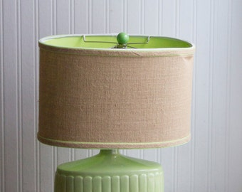 Vintage Table Lamp, Celery Green Short Ribbed Lamp, Retro Lime Home Decor