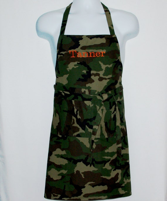 Camouflage Camo Apron, Youth, Teen, Custom Boys, Girls, Gift Personalized With Name, No Shipping Fee,  Ships TODAY, AGFT 410