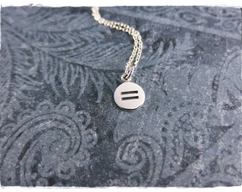 Tiny Equality Necklace - Sterling Silver Equality Charm on a Delicate Sterling Silver Cable Chain or Charm Only