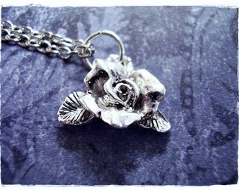Silver Blooming Rose Necklace - Silver Pewter Rose Charm on a Delicate Silver Plated Cable Chain or Charm Only