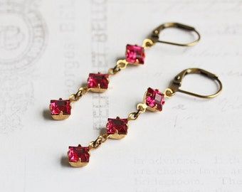 Small Dark Pink Rhinestone Dangle Earrings on Antiqued Brass Hooks (Leverbacks or Fishhooks)
