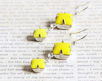 Small Opaque Lemon Yellow Rhinestone Dangle Earrings on Silver Plated Hooks (Vintage Glass)