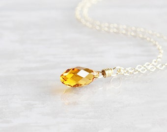 Topaz Crystal Teardrop Pendant Necklace on 14K Gold Filled Chain (Swarovski Elements)