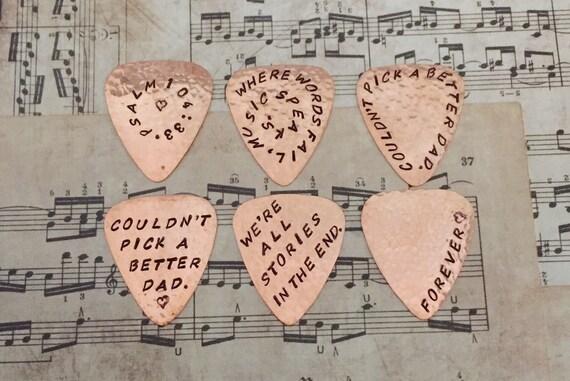 Custom GUITAR PICK, Handmade COPPER, Engraved Plectrum, Birthday, Anniversary, Wedding, Teacher Thank you, Christmas, Hanukkah, Graduation