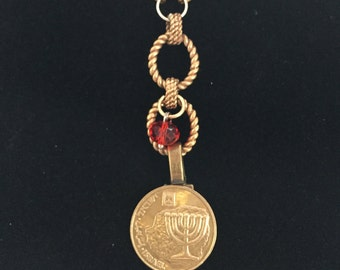 Coin Necklace - Israel (red charm )