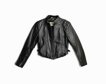 Vintage 90s Black Leather Moto Jacket / Short Leather Jacket - women's small