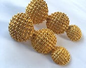 Textured Gold Button Drop Earrings Yellow Gold Disc 90s Vintage Clip On Earings