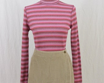 Vintage Striped 90's Turtleneck, Ribbed Turtleneck, Bubble Gum Pink, 90's Clothing, Tumblr Clothing, Size XS-Small, Grunge, Clueless