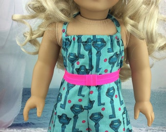 18 inch doll clothes Aqua romper to fit american girl size dolls. Cute doll clothes.