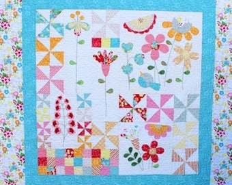 Instant Download- Spring Morning. An Applique and Embroidery Quilt Pattern. Flower Quilt. Floral Quilt Pattern. Pinwheel Wall Hanging