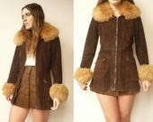 1970's Vintage Penny Lane Brown Suede & Shearling Jacket Coat Size XS